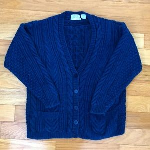 Hand knit chunky cardigan sweater